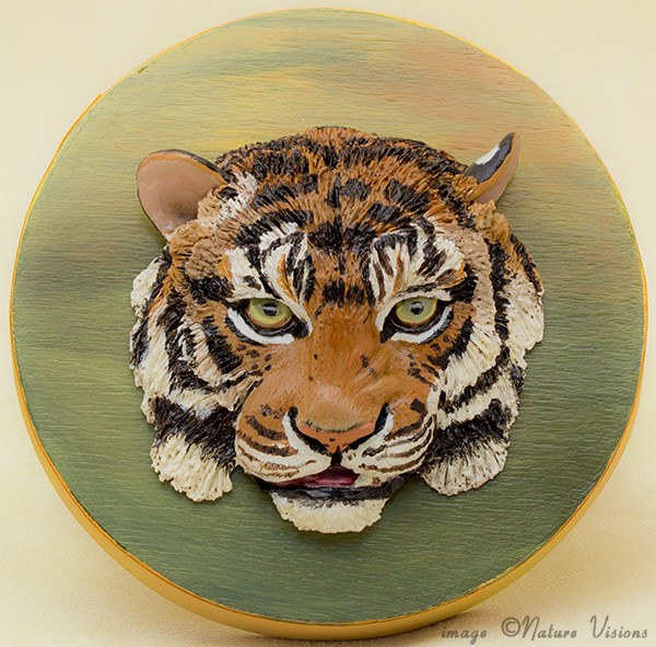 Tiger Art polymer clay cat keepsake box