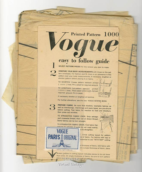 60s Guy Laroche Dress Pattern, Vogue Paris Original 1000, Vintage Sewing Patterns