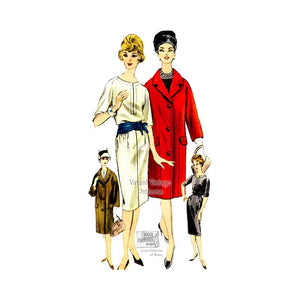 Irene Galitzine Coat & Dress Sewing Patterns, 60s Vogue Couturier Pattern 1014