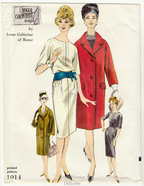 60s Vogue Couturier Pattern 1014, Irene Galitzine Coat & Dress Sewing Patterns