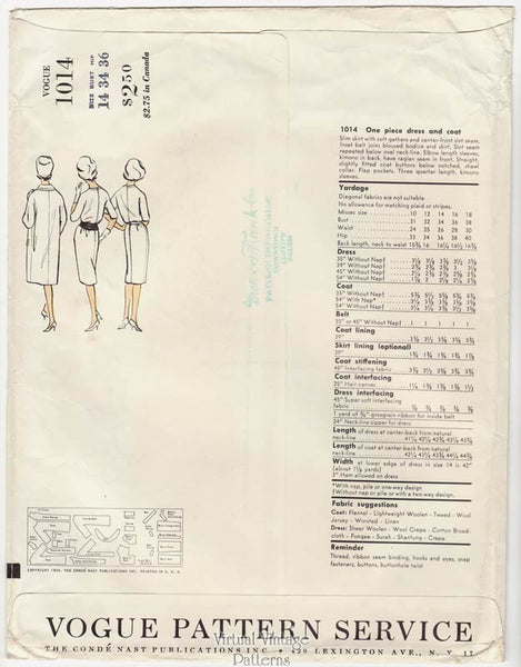 Vogue Couturier Design Pattern 1014