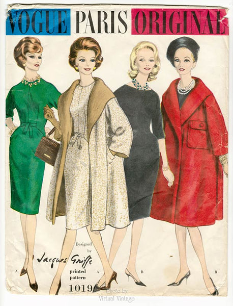 1960s Vogue Paris Original 1019, Vintage Wrap Coat & Sheath Dress Pattern