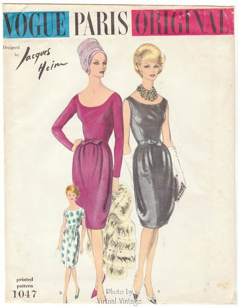 1960s Vogue Paris Original 1047, Jacques Heim Dress Pattern
