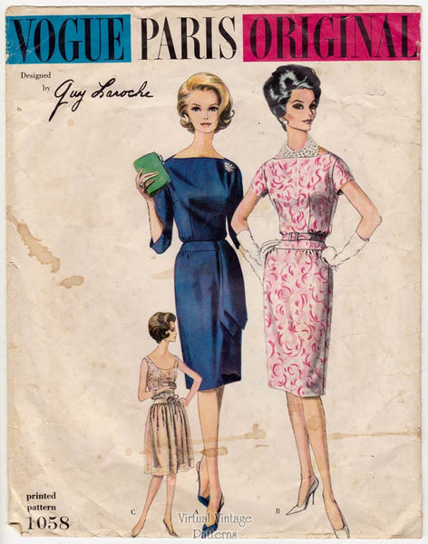 Vintage Vogue Paris Original Sewing Pattern 1058