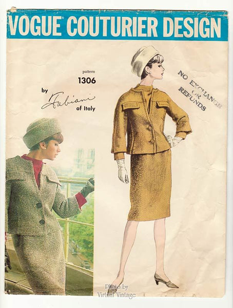 1960s Vogue Couturier 1306 Fabiani Suit Pattern
