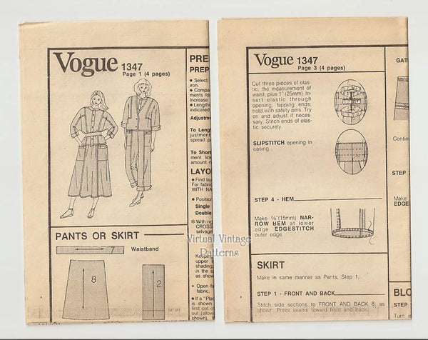 Carol Horn Clothing Pattern Vogue American Designer 1347 Jacket, Blouse, Skirt, Capri Pants, Bust 36