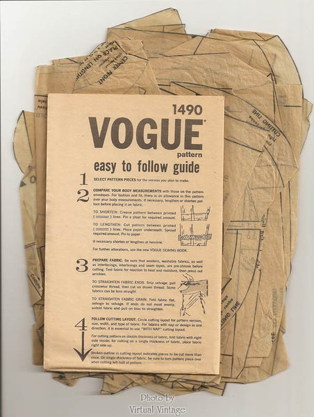 Emilio Pucci Vogue Couturier Design Pattern 1490, 60s Sheath Dress & Jacket Vintage Sewing Patterns