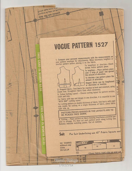 60s Womens Suit Pattern, Vogue Couturier Design 1527, Rodriguez of Madrid, Bust 34, Uncut