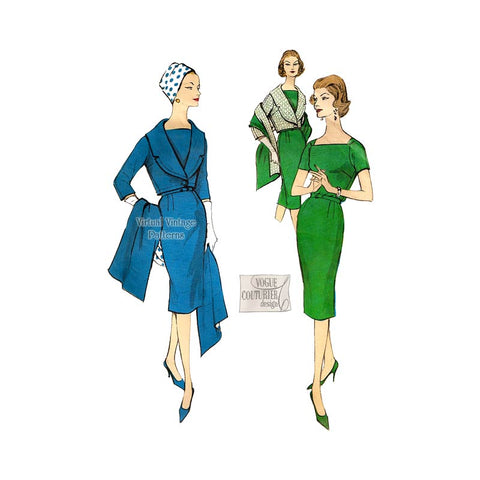 1950s Sheath Dress Pattern, Vogue Couturier 165