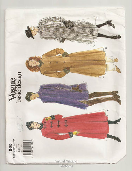 Vogue Basic Design 1665, Womens Coat Pattern