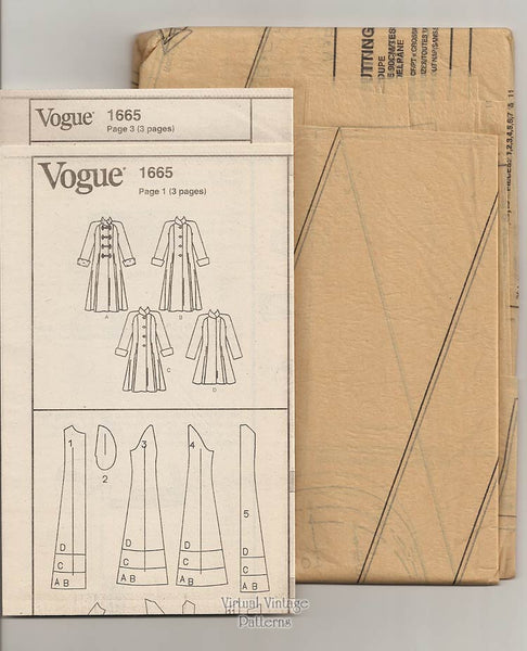 Womens Coat Pattern, Vogue Basic Design 1665, Sizes 8 10 12, Uncut