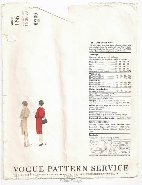 Vogue Couturier Design 166, 1950s One Piece Dress Pattern