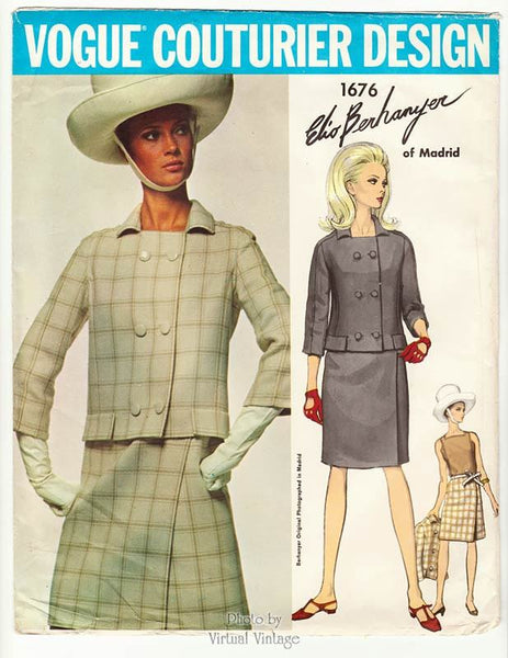1960s Vogue Couturier Design 1676, Elio Berhanyer Dress Pattern