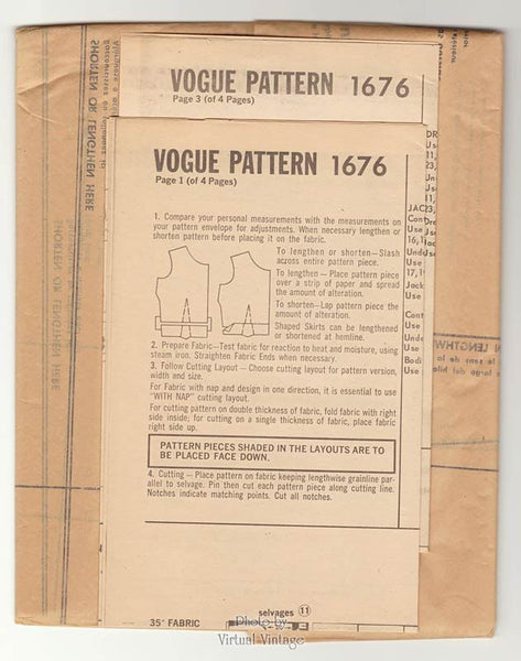 1960s Vogue Couturier Design 1676 Elio Berhanyer Dress Pattern One Piece with Wrap Skirt & Jacket