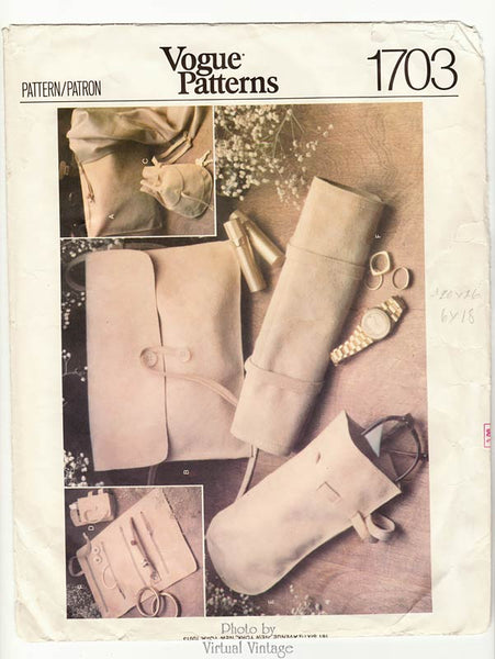 Vogue Pattern 1703, Purse & Synthetic Suede Accessories