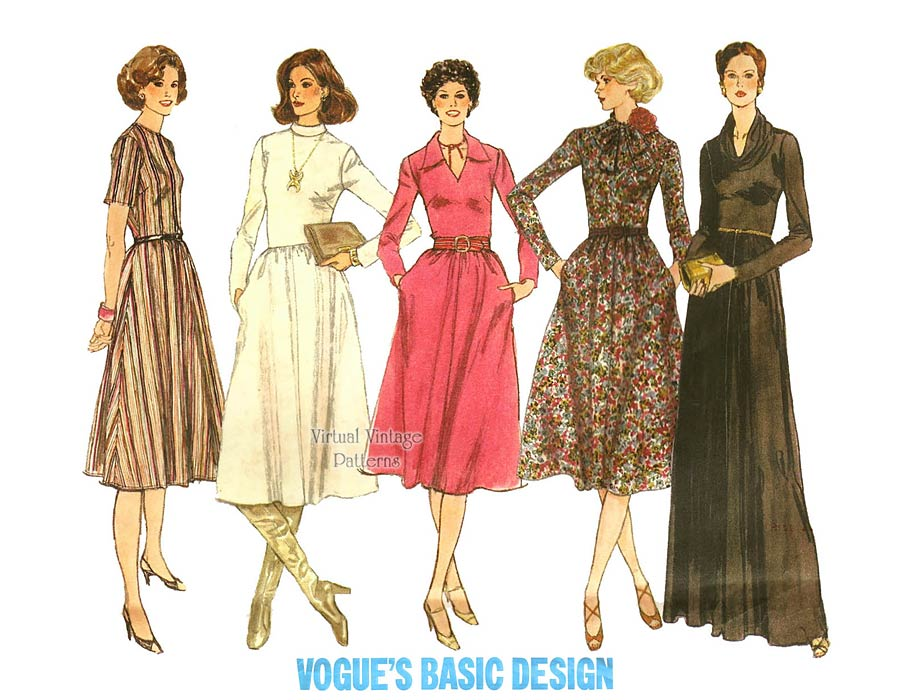 Cowl Neck Maxi Dress Pattern, Vogue Basic Design 1742