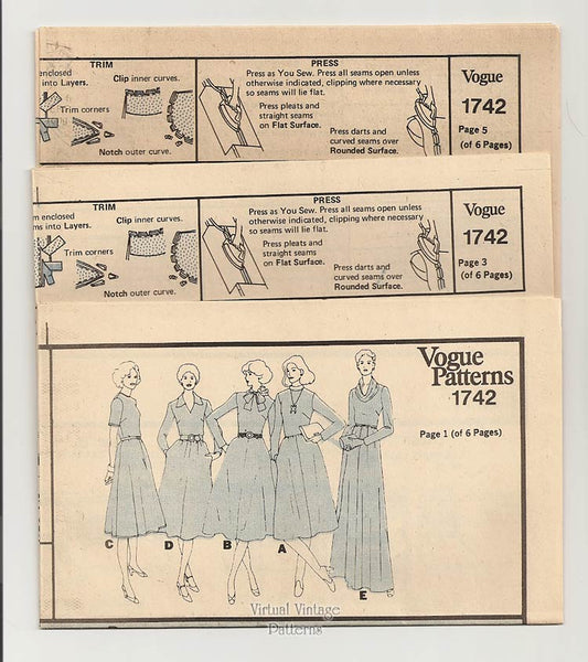Cowl Neck Maxi Dress Pattern, Vogue Basic Design 1742, Day or Evening Dress, Bust 34, Uncut