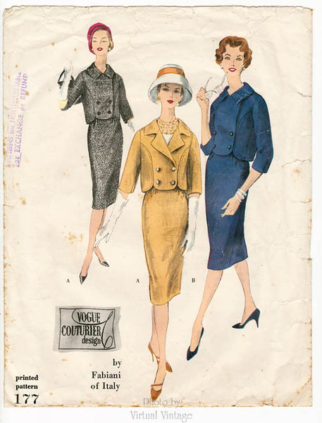 50s Vogue Couturier Design 177, Vintage Fabiani Womens Suit Pattern, Bust 34