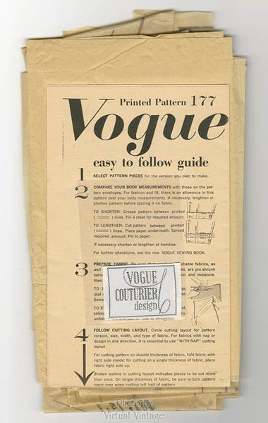 50s Vogue Couturier Design 177, Vintage Fabiani Womens Suit Pattern, Bust 32