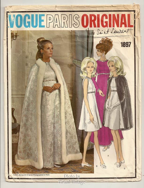 Vintage Vogue Paris Original 1897, Yves Saint Laurent Cape & Evening Dress Pattern