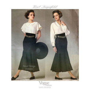 Poet Blouse & Godet Skirt Pattern, Karl Lagerfeld Vogue Paris Original 1900