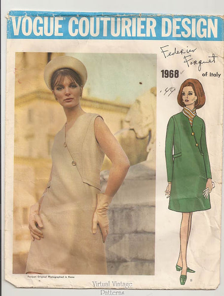 Vogue Couturier 1968, 1960s Asymmetrical Dress Pattern