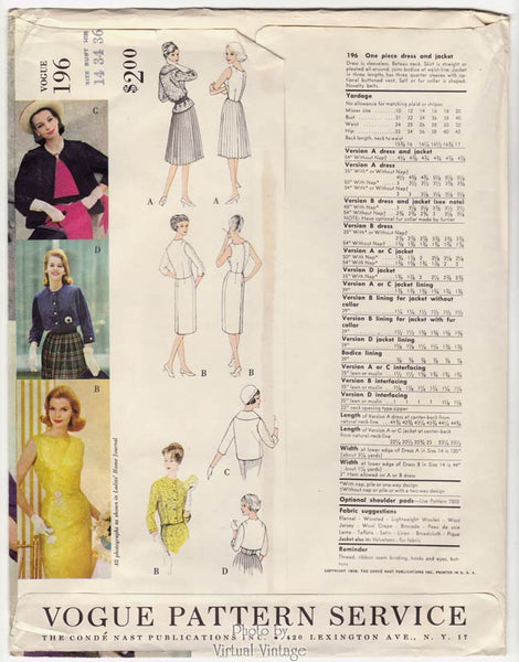 Vogue Couturier Pattern 196