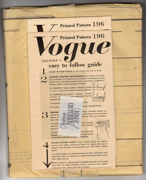 50s Jacket & Dress Pattern Vintage Vogue Couturier 196, Pleated Skirt or Sheath Dress, Bust 34 Uncut