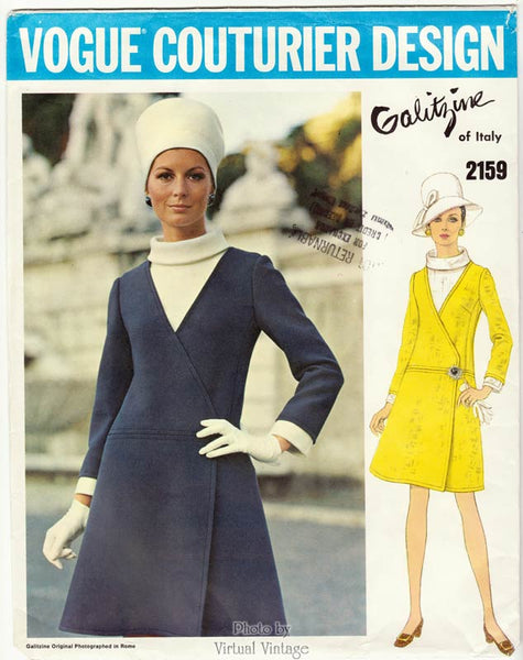 Vogue Couturier Design 2159, Irene Galitzine 1960s A Line Wrap Dress Pattern