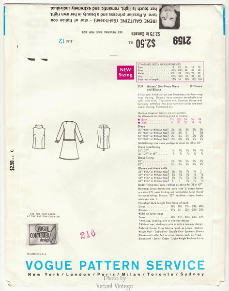 Vogue Couturier Design Pattern 2159