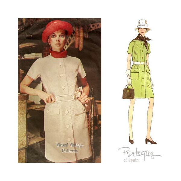 1960s A Line Coat Dress Pattern, Vogue Couturier Design 2226