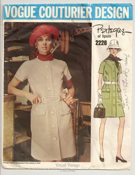 Vogue Couturier Design 2226, 60s A Line Coat Dress Pattern, by Pertegaz