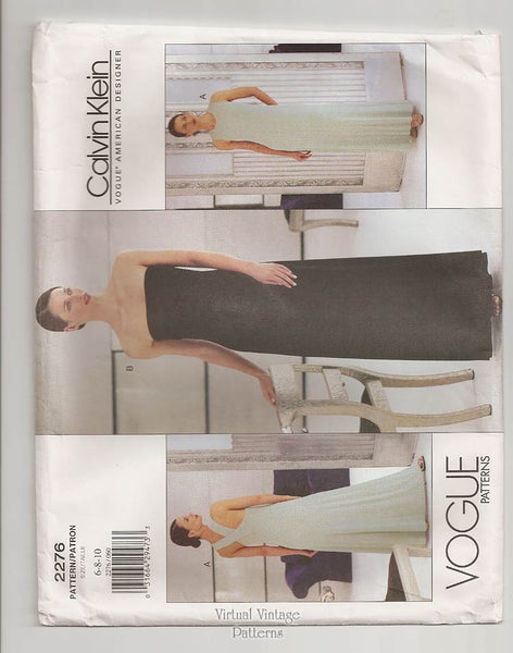 Vogue 2276, Calvin Klein Dress Pattern, Strapless Evening Gown