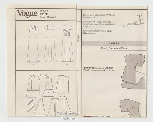 Calvin Klein Dress Pattern, Vogue 2276, Strapless A-Line Evening Gown, Size 6 8 10, Uncut