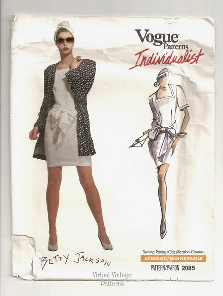 Vogue Individualist 2085, 1980s Mini Dress Pattern by Betty Jackson