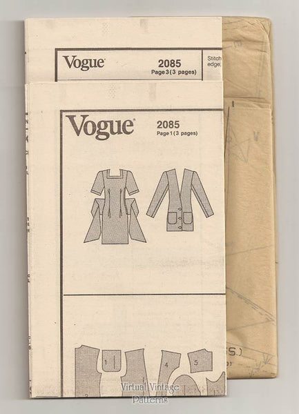 1980s Mini Dress Pattern, Vogue 2085, Jacket & Dress by Betty Jackson, Sizes 6 8 10 Uncut