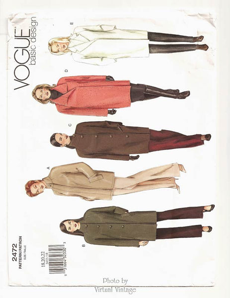 Vogue Basic Design 1472, Easy Plus Size Coat Pattern