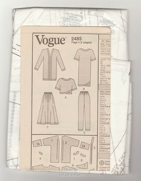 Easy Sewing Womens Patterns Vogue 2485 Jacket, Dress, Top, Skirt & Pants Pattern, Size 8 10 12 Uncut