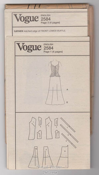 Oscar de la Renta Dress Pattern, Vogue 2584, Drop Waist Evening Gown, Size 8 10 12, Uncut