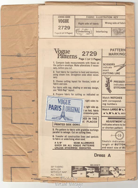 Nina Ricci Vogue Paris Original 2729, 1970s Front Wrap Dress Pattern, Bust 38, Uncut, Label