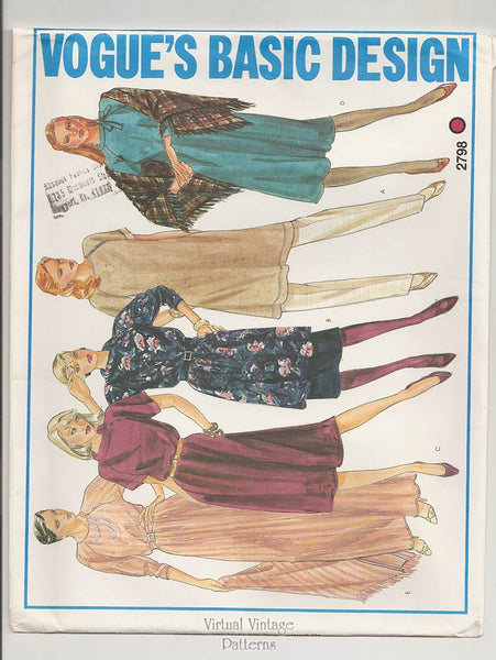Vogue Basic Design 2798, 1980s Dress Patterns, Tunic & Skirt