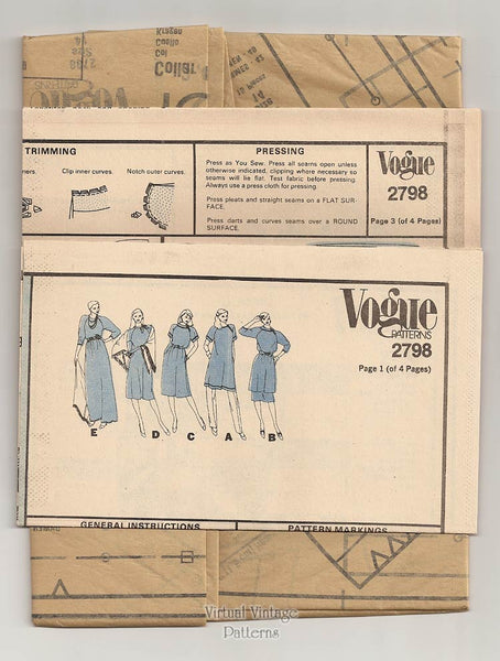 1980s Dress Patterns, Vogue Basic Design 2798, Tunic, Skirt, Dress & Shawl, Bust 36, Uncut