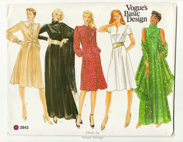 Vogue Basic Design 2843, Shawl & Dress Pattern Bust 36