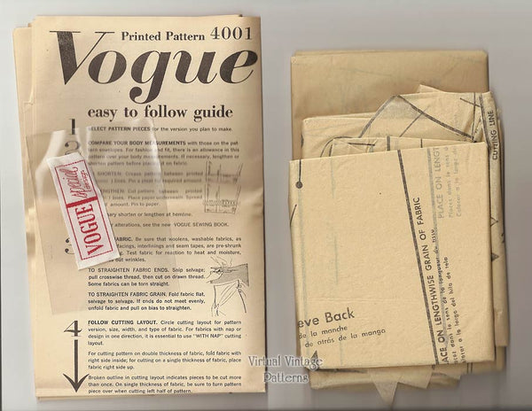 1950s Coat Pattern, Vogue Special Design 4001, Straight Coat and Stole, Bust 34