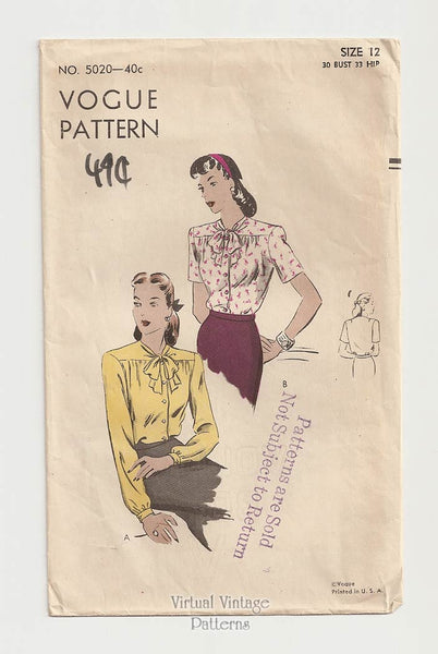 Vogue 5020, Vintage 1940s Bow Blouse Pattern