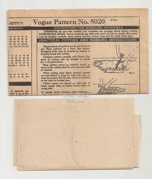 1940s Bow Blouse Pattern, Vintage Vogue 5020, Easy Sewing Pattern, Bust 30, Uncut