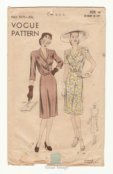 Vogue 5171 1940s Dress Pattern
