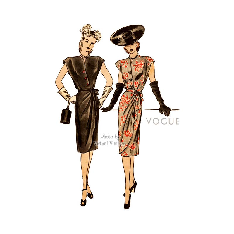 1940s Draped Dress Pattern, Vogue 5403