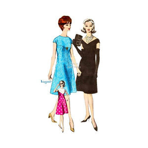 Easy Sewing 1960s Cocktail Dress Pattern Vogue 5480 One Piece, Deep V Neck, Bust 34