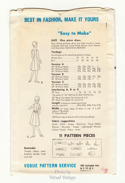 60s Princess Dress Pattern Vogue 5629 Easy Sewing, Bust 34, Uncut